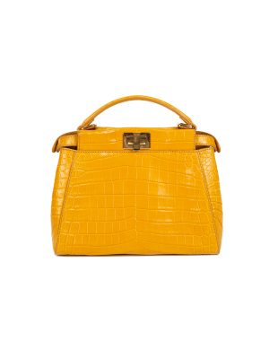 Yellow Croco Leather Mini Peekaboo Bag by Fendi - Le Dressing Monaco