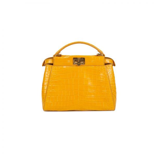 Yellow Croco Leather Mini Peekaboo Bag by Fendi - Le Dressing Monaco