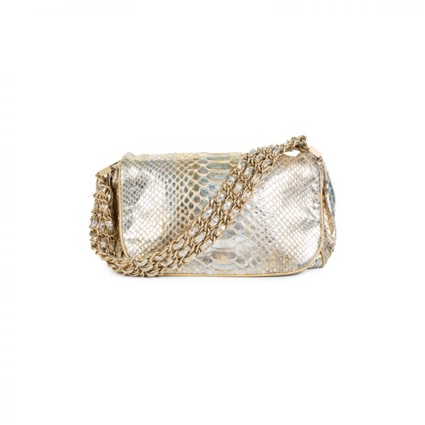 Rock And Chain Gold Python Leather Flap Bag by Chanel - Le Dressing Monaco