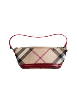 Red Beige Nova Check Canvas Satchel by Burberry - Le Dressing Monaco