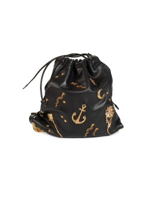 Black Astrology Embellished Drawstring Hobo Bag by Prada- Le Dressing Monaco
