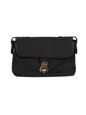 Black FF Logo Flap Nylon Shoulder Bag by Fendi- Le Dressing Monaco