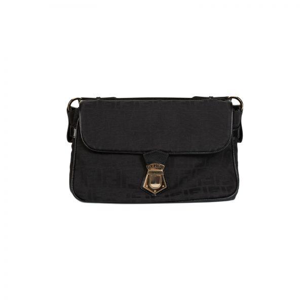 Black FF Logo Flap Nylon Shoulder Bag by Fendi- Le Dressing Monaco