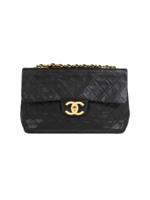 Black Quilted Lambskin Maxi Jumbo Flap Bag