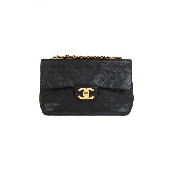 Black Quilted Lambskin Maxi Jumbo Flap Bag