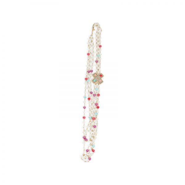 Multicolor 3 Strands Charm CC Pearl Necklace by Chanel - Le Dressing Monaco