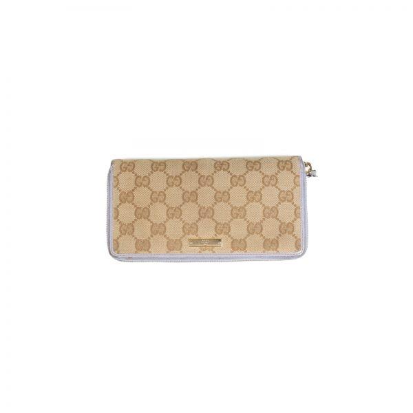 Beige GG Supreme Canvas Zip Around Wallet by Gucci - Le Dressing Monaco