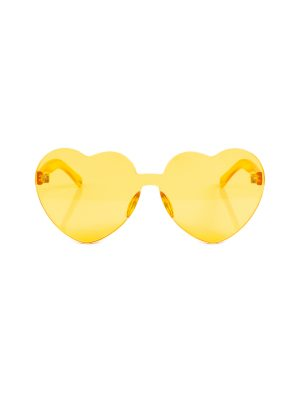 Yellow Love Hearts Sun Glasses by Tess Van Ghert - Le Dressing Monaco