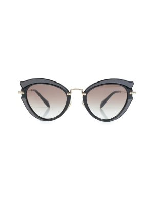 Black Grey Cat Eye Shaped Sun Glasses by Miu Miu - Le Dressing Monaco