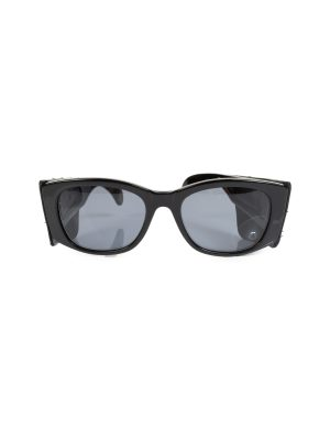 Vintage Sunglasses Black Leather Quilted Temples by Chanel - Le Dressing Monaco