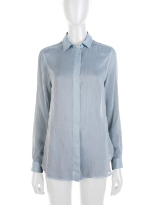Blue Pointed Collar Long Sleeved Shirt by Gucci - Le Dressing Monaco