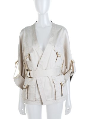 Cream Belted Cotton Blended Gabardine by Balmain - Le Dressing Monaco