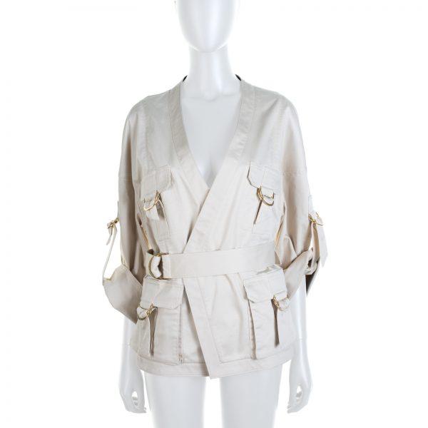 Cream Belted Cotton Blended Gabardine by Balmain - Le Dressing Monaco