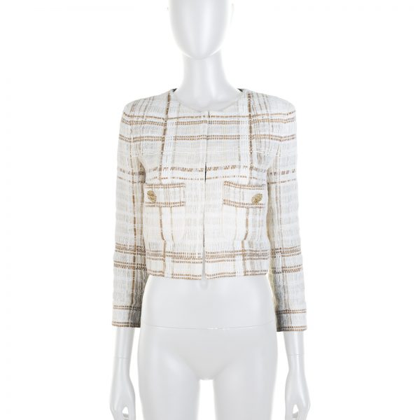 Off-White Beige Stripped Gold Button Short Jacket by Chanel - Le Dressing Monaco