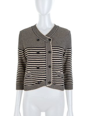 Black Beige Striped Crochet Knitted Cardigan by Chanel - Le Dressing Monaco