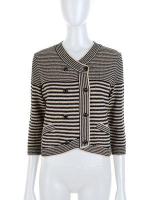 Black Beige Striped Crochet Knitted Cardigan by Chanel - Le Dressing Monaco