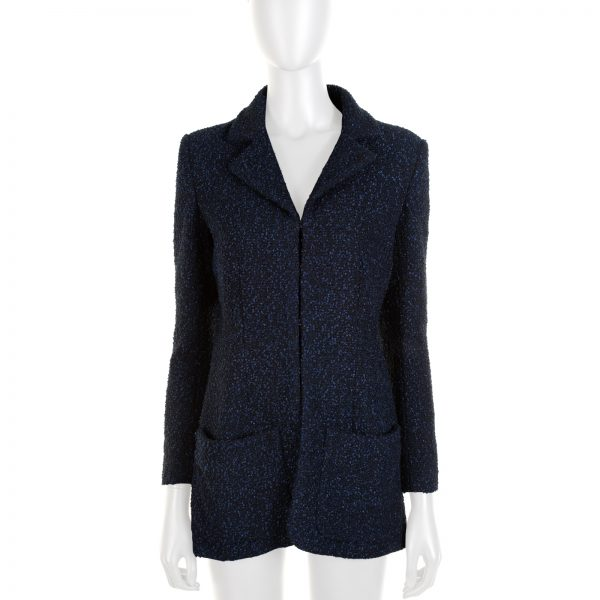 Dark Blue Bouclé Blazer Cut Jacket by Chanel - Le Dressing Monaco