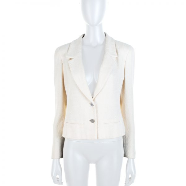 Off-White Irridescent Cotton Blended Jacket by Chanel - Le Dressing Monaco