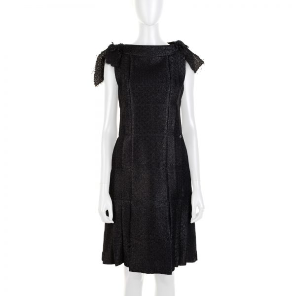Black Lurex Bow Embellished Cocktail Dress by Chanel - Le Dressing Monaco