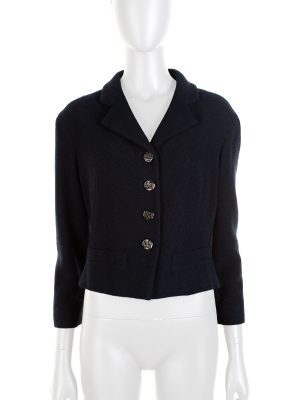 Blue Bouclé Wool Blended Short Jacket by Chanel - Le Dressing Monaco