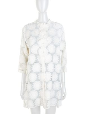 Off-White Flower Embellished Blouse by Ermanno Scervino - Le Dressing Monaco