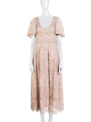 Pink Gold Lace Embellished Midi Dress by Valentino - Le Dressing Monaco