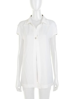 Off-White One Buttoned Short Sleeved Shirt by Chanel - Le Dressing Monaco