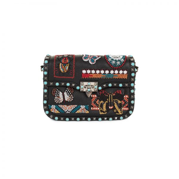 Beaded Patch Rolling Rockstud Shoulder Bag by Valentino - Le Dressing Monaco