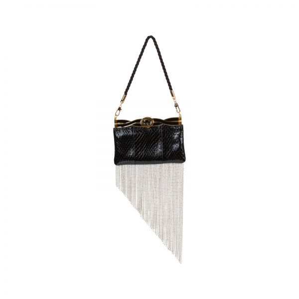 Broadway Crystal Embellished Snakeskin Clutch by Gucci - Le Dressing Monaco