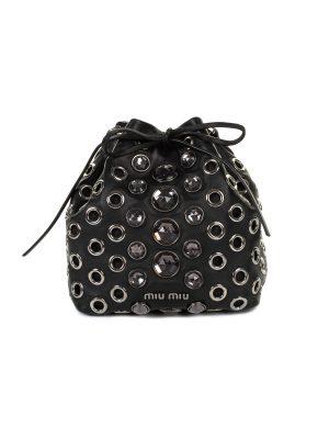 Crystal Embellished Black Leather Drawstring Bag by Miu Miu - Le Dressing Monaco