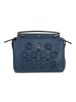 Blue Dotcom Flowerland Embellished Leather Bag by Fendi - Le Dressing Monaco