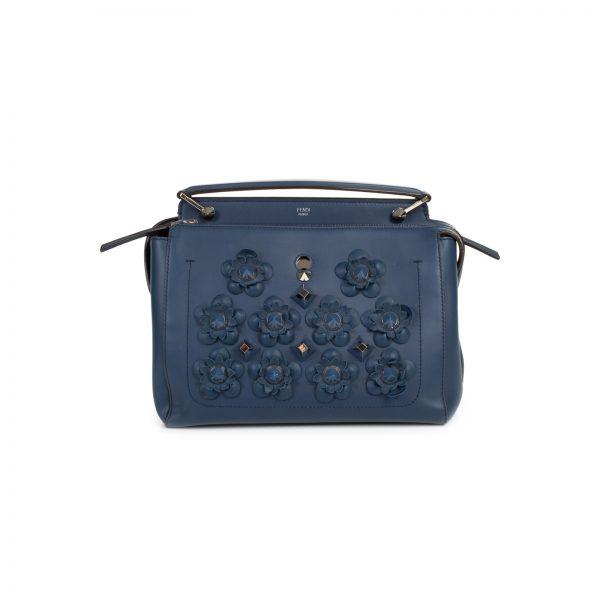 Blue Dotcom Flowerland Embellished Leather Bag by Fendi - Le Dressing Monaco