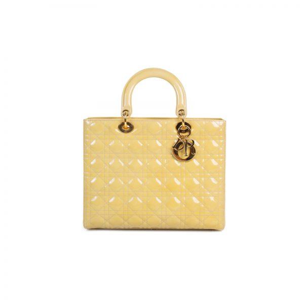 Yellow Patent Leather Lady Dior Tote Bag by Christian Dior - Le Dressing Monaco