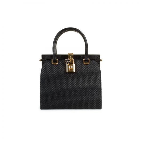 Canvas Leather Flower Lock Frame Bag by Dolce & Gabbana - Le Dressing Monaco