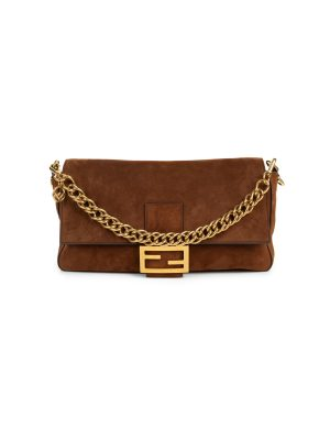 Brown Suede Leather Grand Baguette Bag by Fendi - Le Dressing Monaco