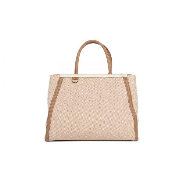 Sac 2 Jour Canvas Leather Peekaboo Bag by Fendi - Le Dressing Monaco