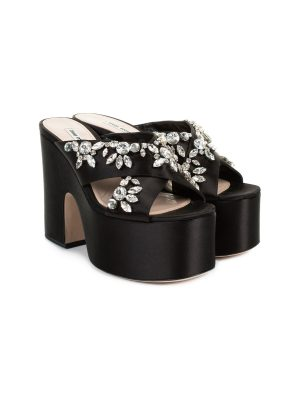 Black Crystal Embellished Platform Sandals by Miu Miu - Le Dressing Monaco