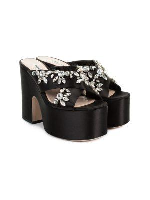 Black Crystal Embellished Platform Sandals by Miu Miu - Le Dressing Monaco