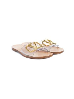 PVC Logo Slide Leather Sandals by Valentino Garavani - Le Dressing Monaco
