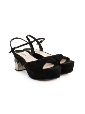 Velvet Crystal Embellished Block Heel Sandals by Miu Miu - Le Dressing Monaco
