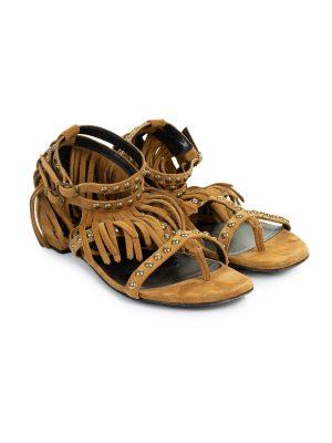 Studded Fringe Suede Flat Sandals by Saint Laurent - Le Dressing Monaco