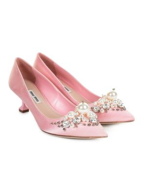 Pink Square Tipped Kitten Heel Satin Pumps by Miu Miu - Le Dressing Monaco