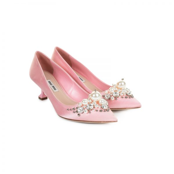 Pink Square Tipped Kitten Heel Satin Pumps by Miu Miu - Le Dressing Monaco