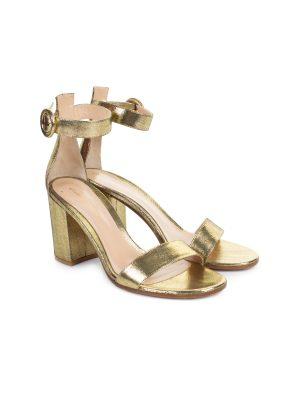 Gold Portofino Block Heels Sandal by Gianvito Rossi - Le Dressing Monaco