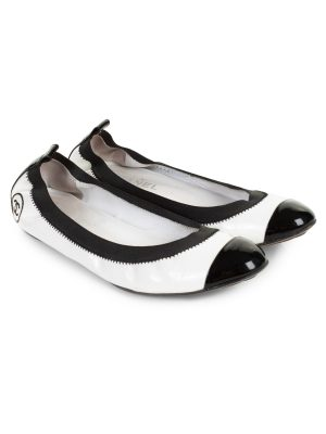 Patent Leather CC Elastic Ballet Flats by Chanel - Le Dressing Monaco