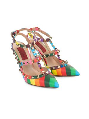 Rainbow Rockstud T-Strap Pumps by Valentino Garavani - Le Dressing Monaco