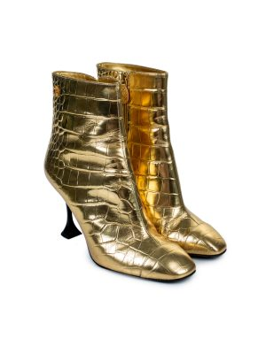 Gold Croco Print Leather Ankle Boots by Chanel - Le Dressing Monaco