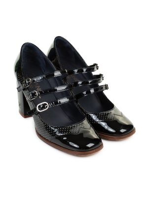 Black Patent Square Toe Mary Janes by Chanel - Le Dressing Monaco