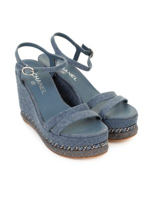 Denim Chain-Link Platform Wedge Sandals by Chanel - Le Dressing Monaco