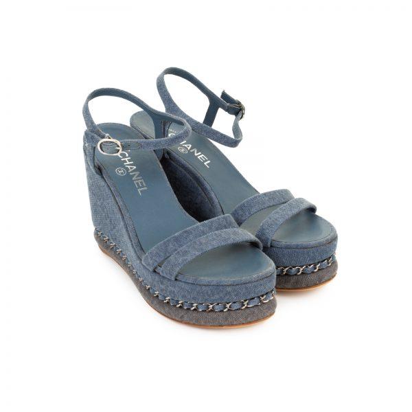 Denim Chain-Link Platform Wedge Sandals by Chanel - Le Dressing Monaco